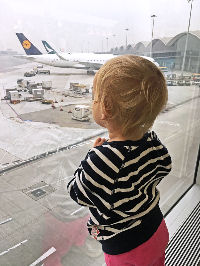 toddler at Hong Kong airport