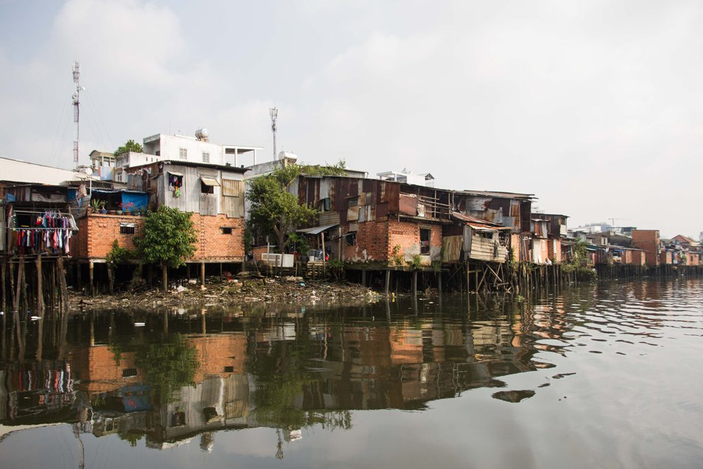 shacks on the Mekong