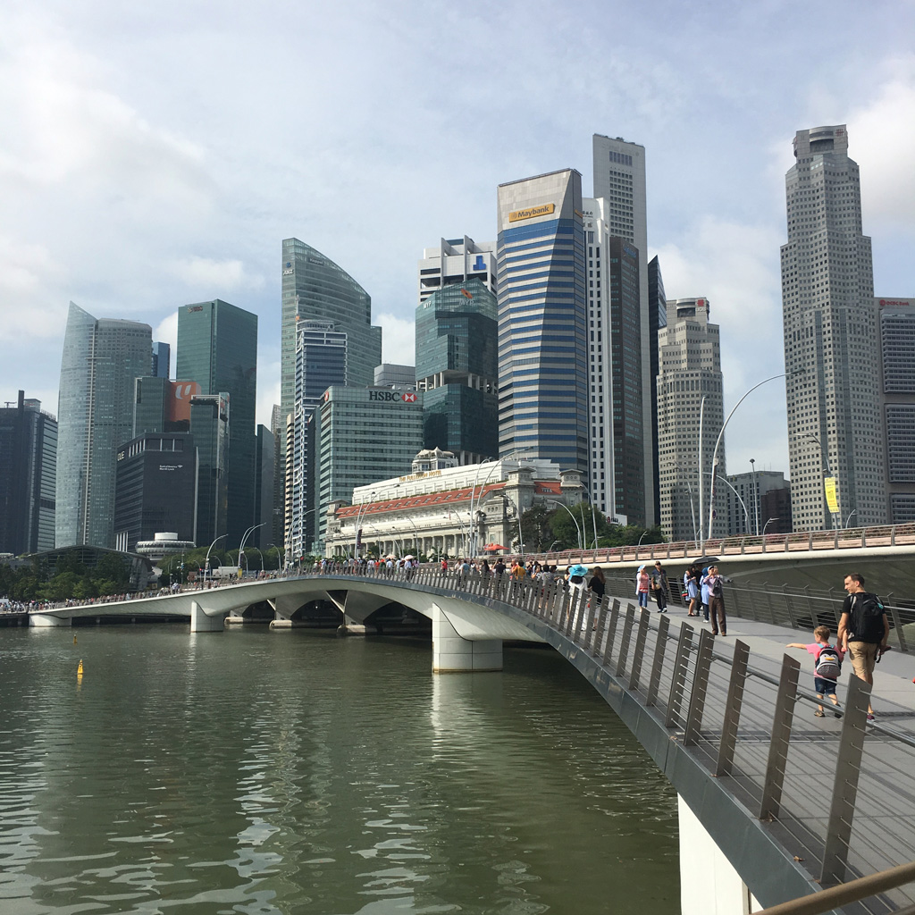 Strolling along Marina Bay