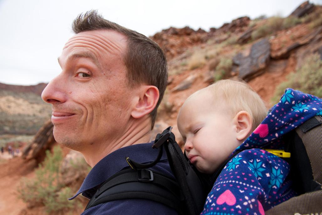 Toddler asleep while hiking