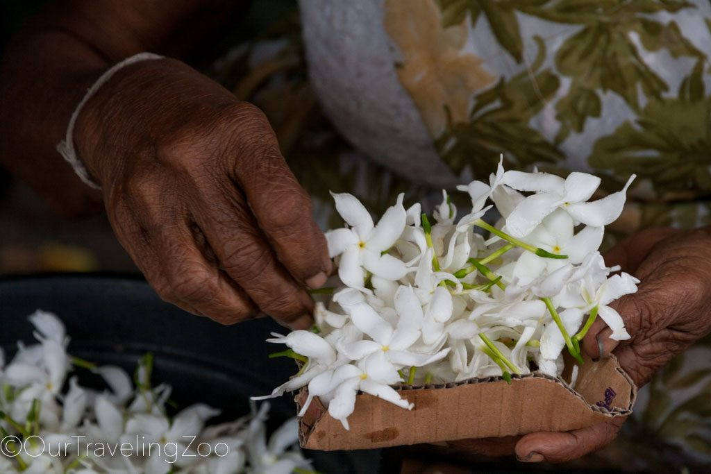 A woman handles flowers to be sold as offerings near the Temple of the Tooth in Kandy, Sri Lanka