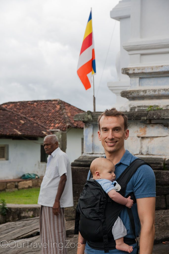Touring a temple with the baby in tow