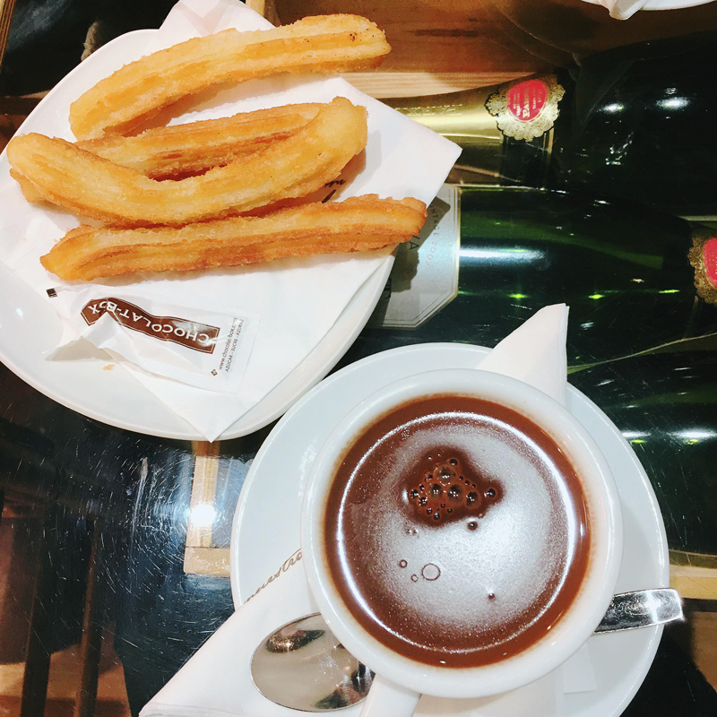 Hot chocolate and churros at Chocolat-Box