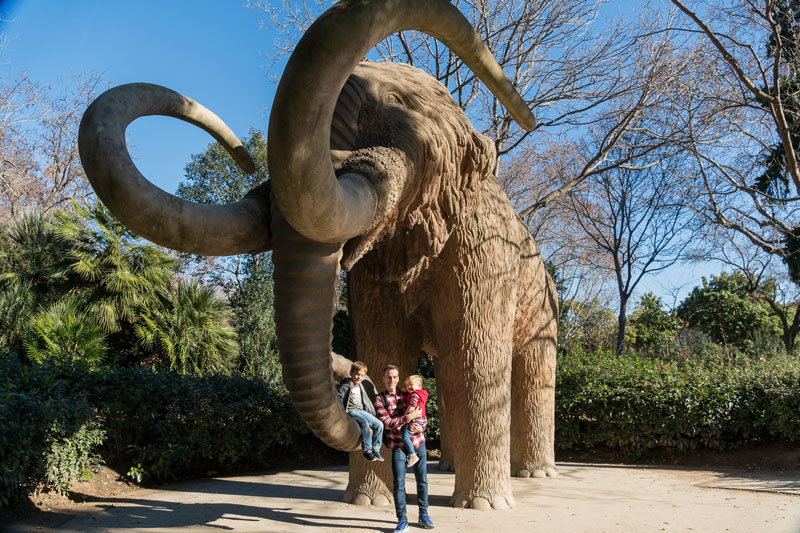 The kids loved the life-sized mammoth at a park in Barcelona