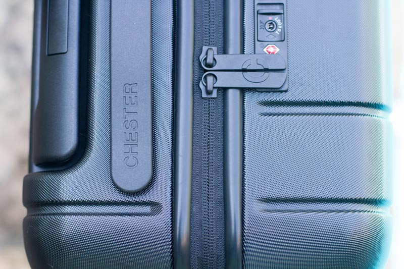 Close up of the Chester Travels Minima Zipper and TSA Lock