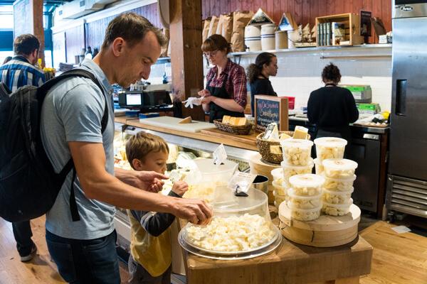sampling cheese at Beechers